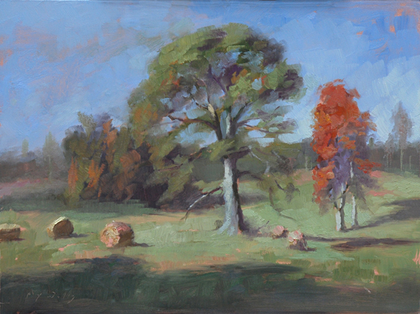 Hay Bales at Harvest Time    12 x 16    oil on panel