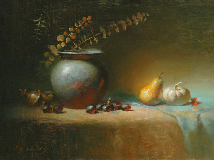 Pear and Pumpkin    12 x 16    oil on panel