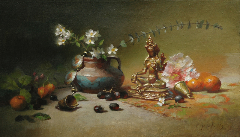Still Life with Two Bells    14 x 24    oil on linen