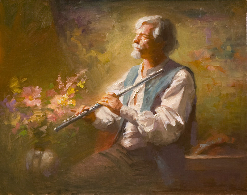The Flutist    16 x 20    oil on mounted paper