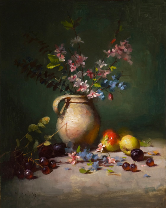 """Still Life with Apples""     20 x 16, oil on panel"