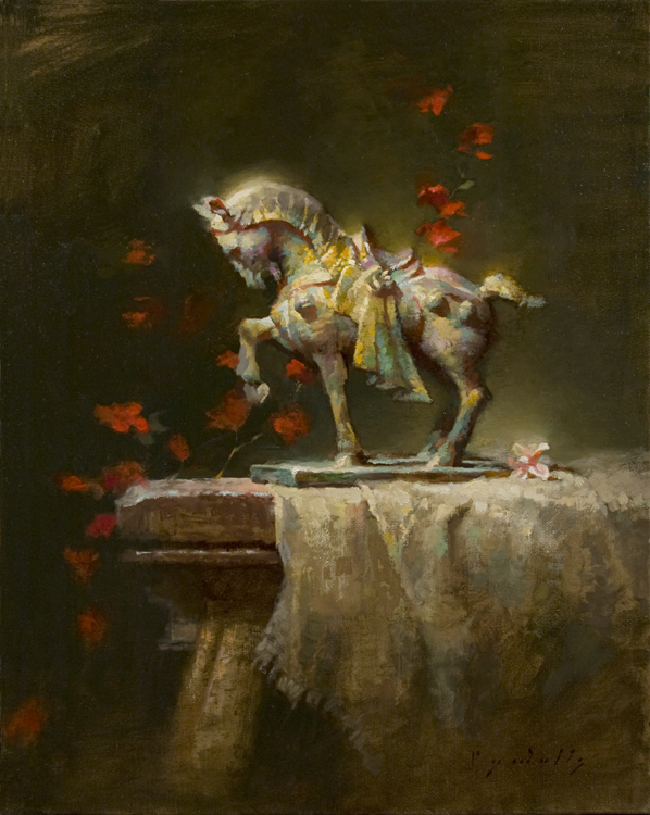 Bronze Horse in Profile   20 x 16   oil