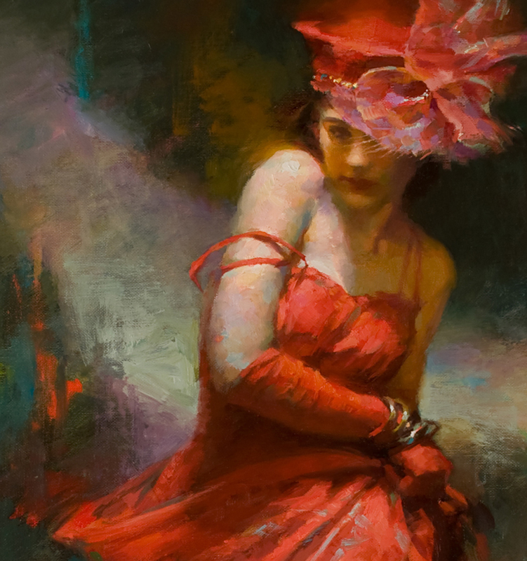 She Beguiles in Red -  detail (30 x 20, oil)