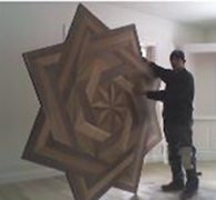 Large White oak and walnut floor medallion