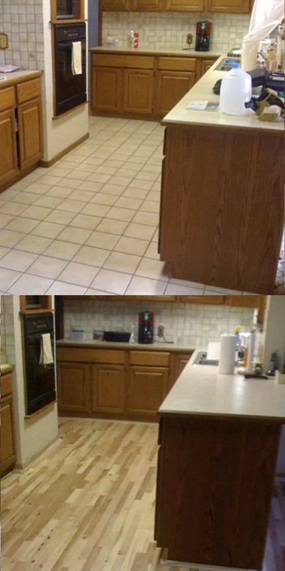 Remove old ceramic tile and install new hickory wood floor