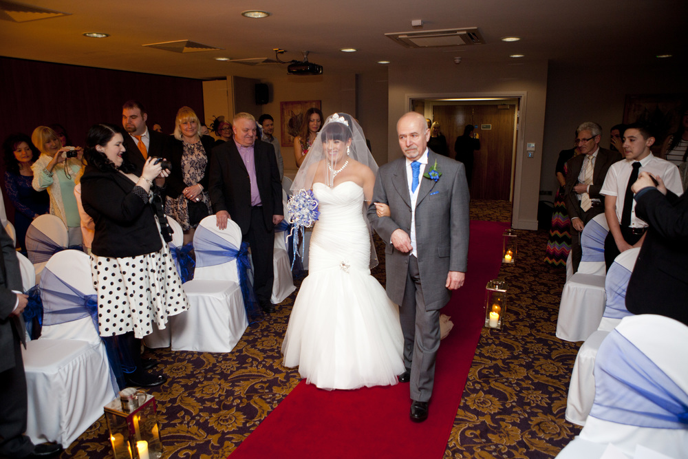 walking down the aisle, Quality Hotel, Boldon.