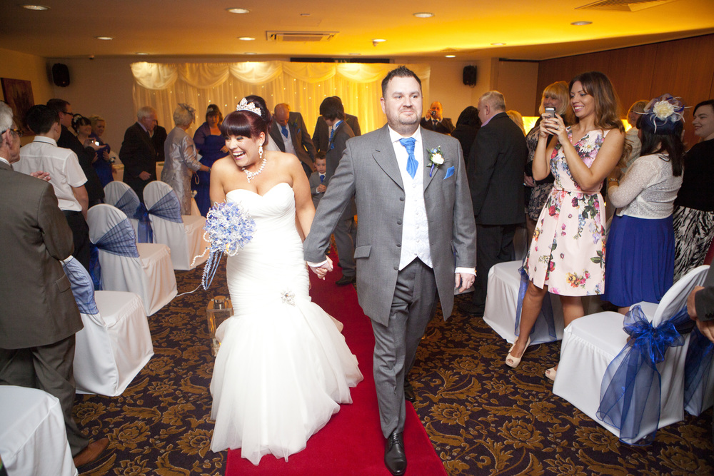 Walking up the aisle at the Quality Hotel, Boldon.