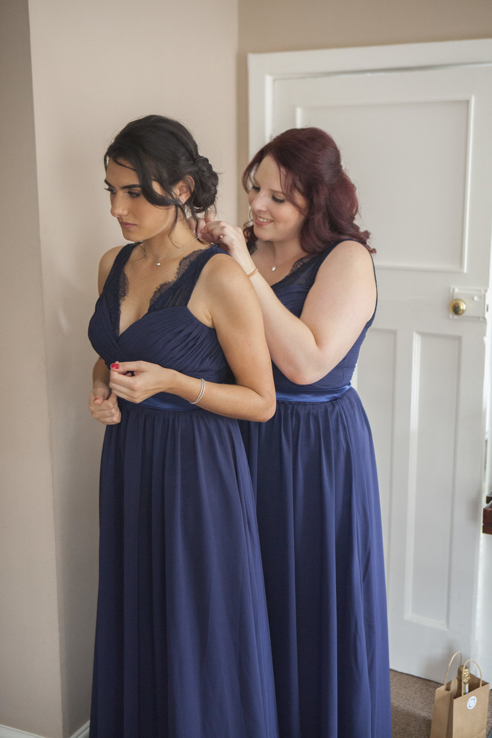 Bridesmaids getting ready in York