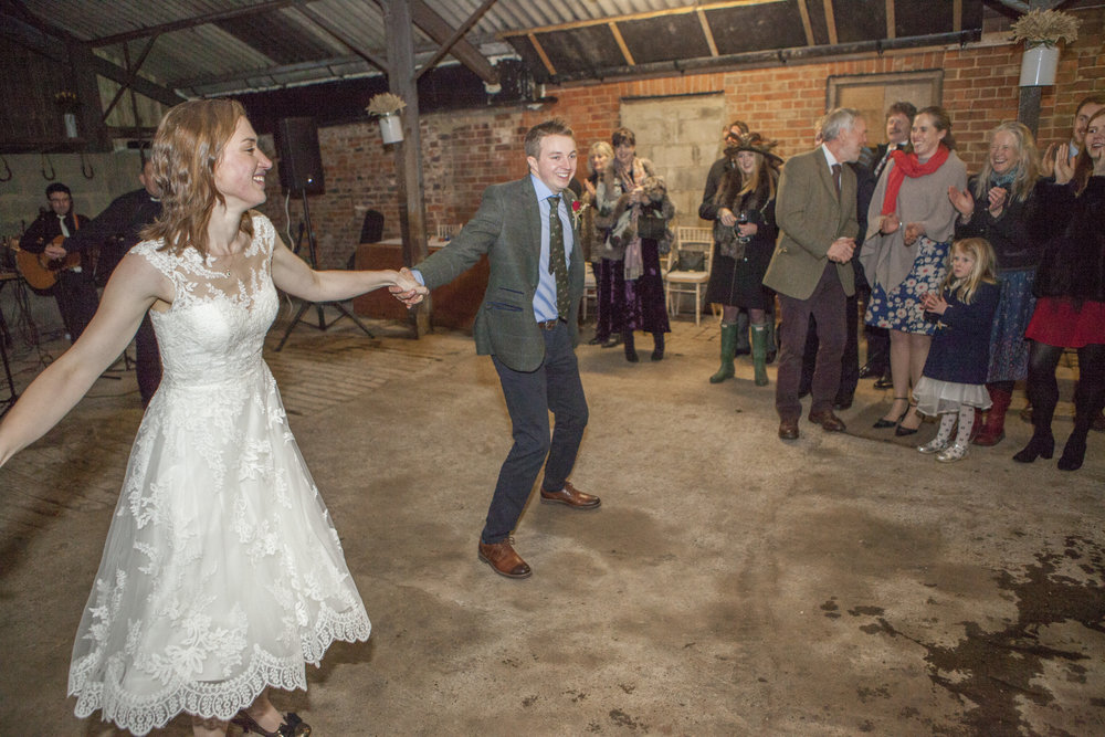 first dance at a wedding on a farm