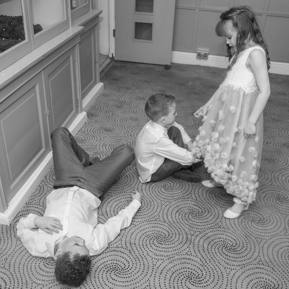 children playing at a wedding in London