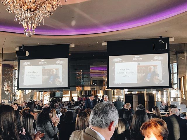 Such an honor to open up the Annual WWD Beauty Inc Awards at the Rainbow Room this morning an NYC. Incredible group of leaders driving change in beauty and beyond, including WWD Editor at Large Pete Born, who accepted the Visionary Award for his contribution to the industry over the past 30 years. #beautyincawards