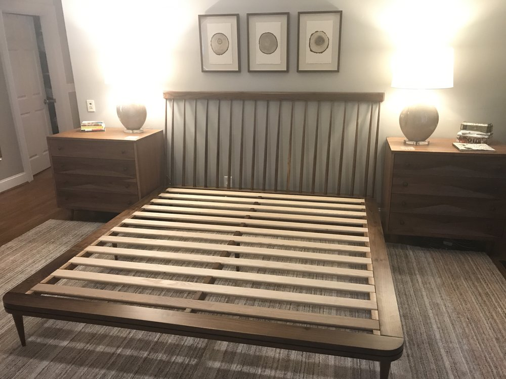 The Jack Ellis Company - Custom Walnut bed detail