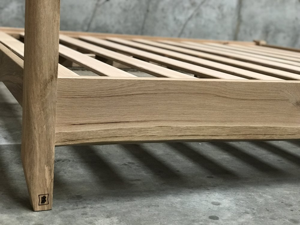 The Jack Ellis Company - Custom Live Edge White Oak Bed detail