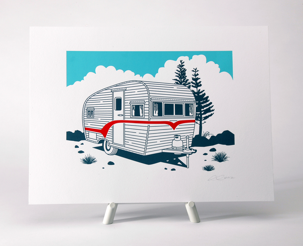 Tiny Trailer Print 3 pass letterpress piece. Printed on 100% cotton paper.