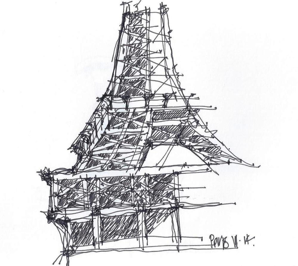 This was a very quick 3 minute sketch that I did of the Eiffel Tower as we were literally driving by.  Amazing what you can do when you're force to draw quickly.