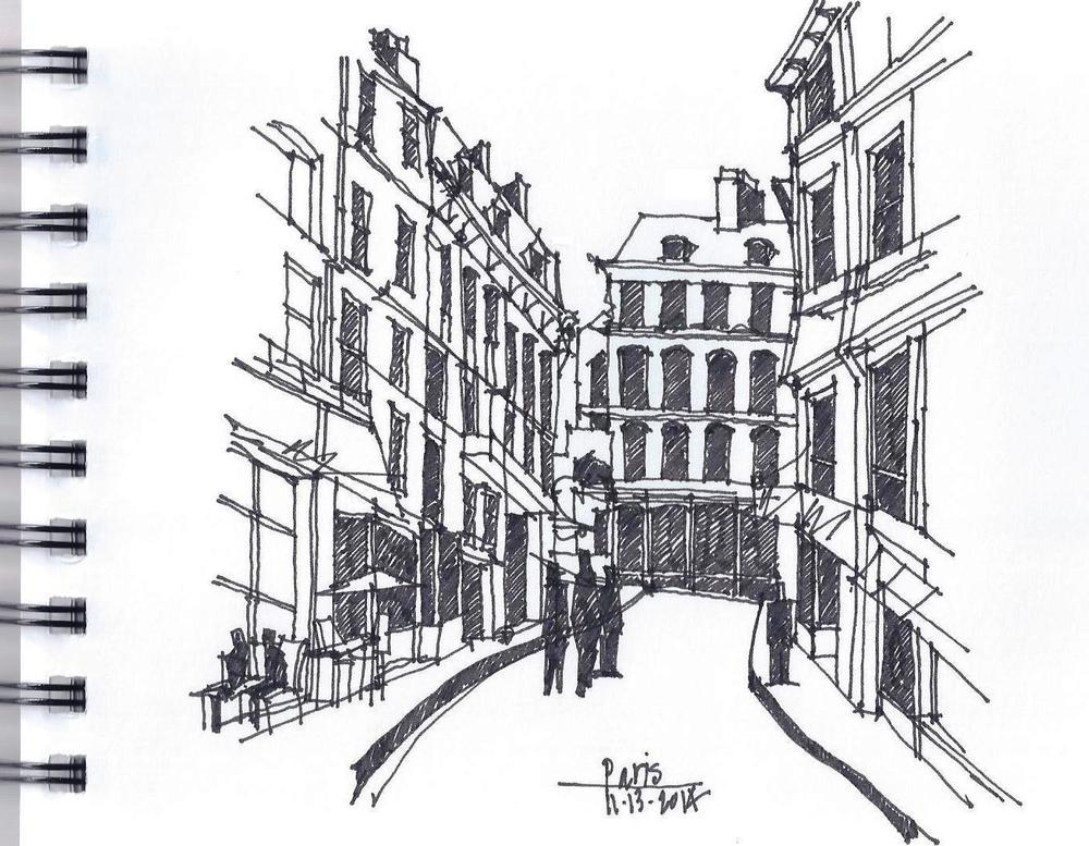 Street Sketch, Side Street near Rue St. Germain, Paris, Nov., 2014