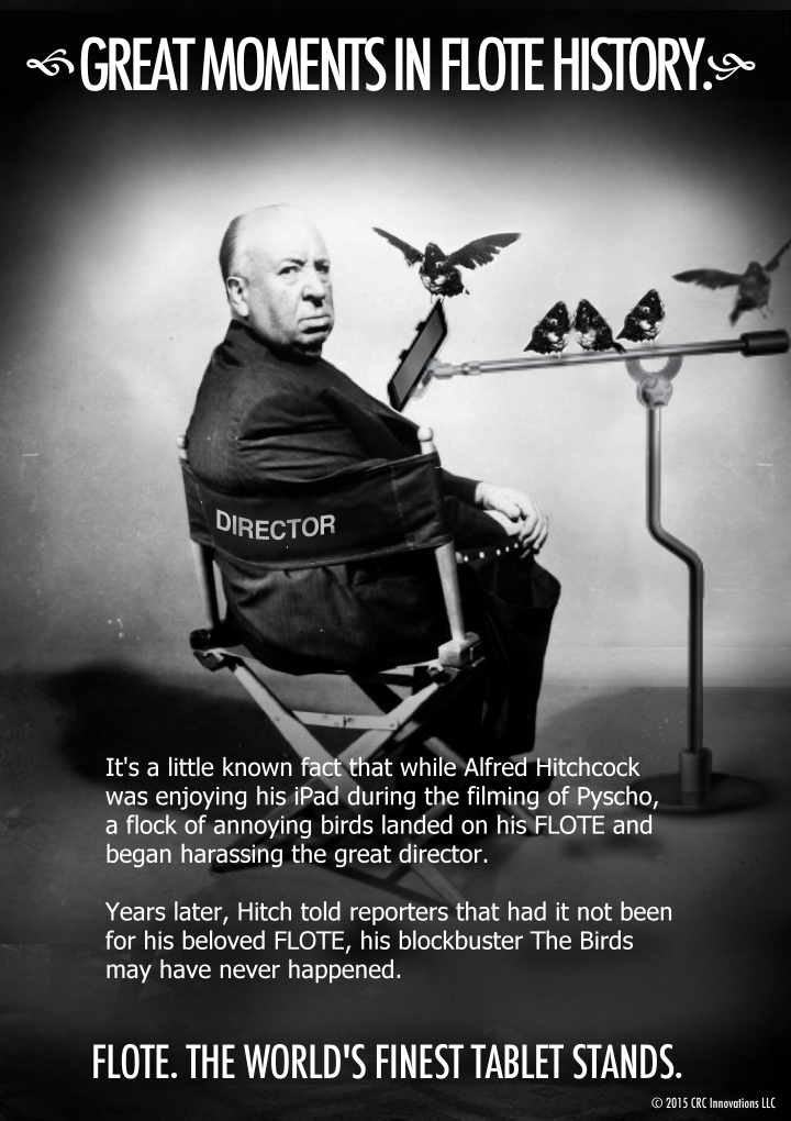 Hitchcock and his FLOTE iPad Tablet Floor Stand