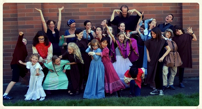 Oregon Camp Cast and Staff 2014       These kids (and staff!) do like to get their drama on