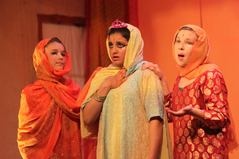Manthara and Suchara persuade Kaikeyi to have Rama banished  (from the 2012 school production of the Ramayana)