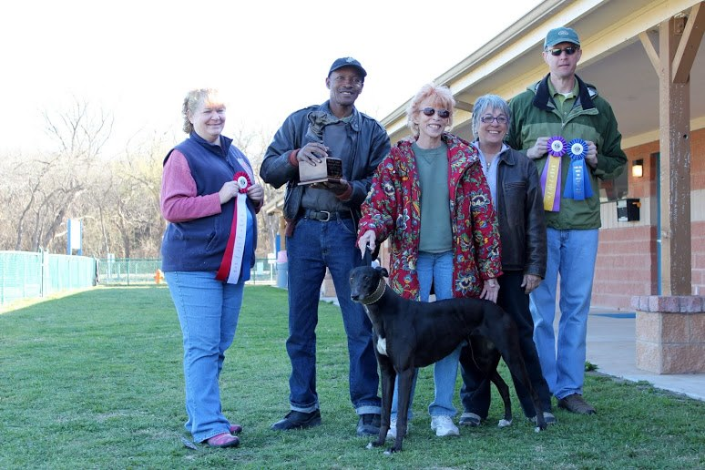"2013 Ray Woods Challenge Perpetual Trophy Winner - Greyhound - I'm a Flashy Lady ""Black Beauty"" with Owner Sherry Faye Rodarmor."