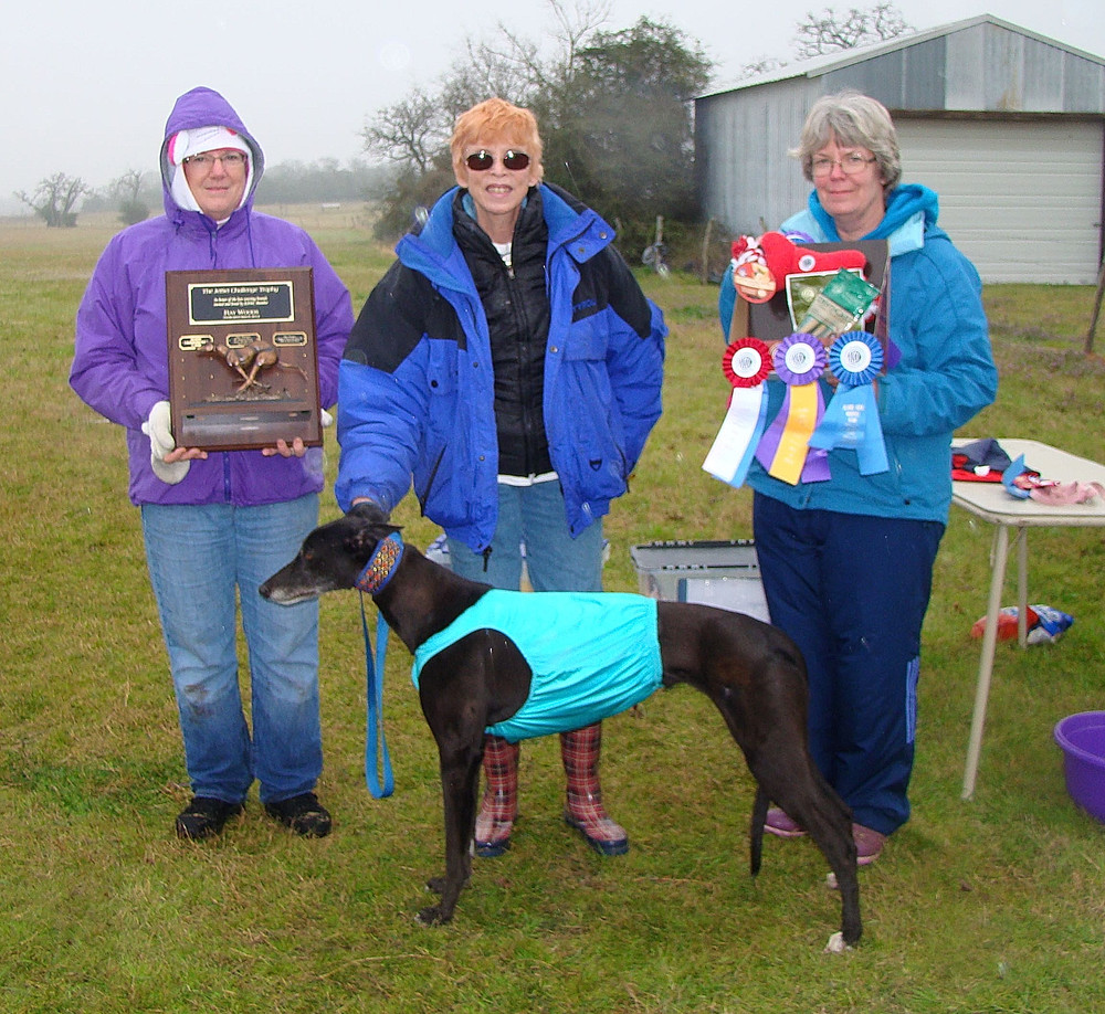 "2015 JetSet Challenge Perpetual Trophy Winner - Greyhound - Shefaro's Black Velvet ""Black Velvet"" with Owner Sherry Faye Rodarmor."
