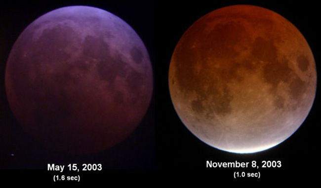As you can see, very different tones in 2 seperate Lunar Eclipses. Credit: Tom Ruen