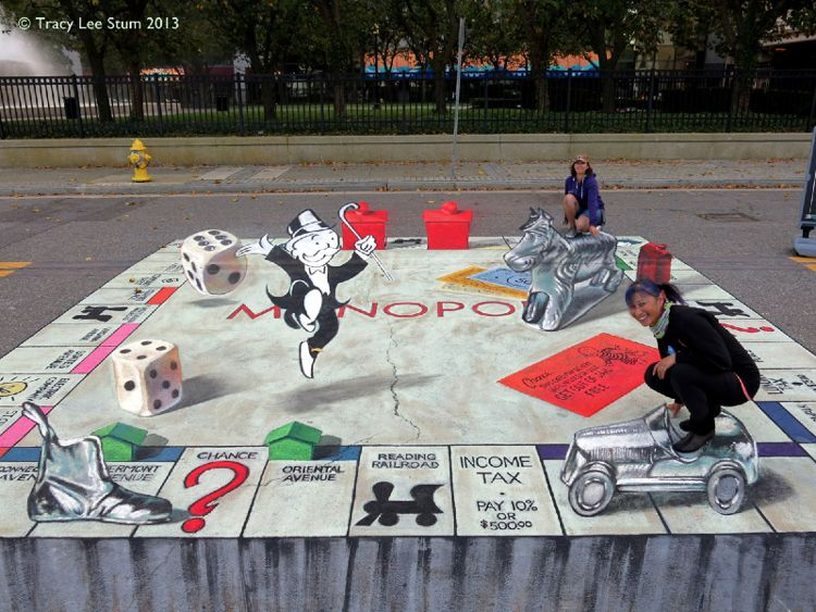 3D Monopoly Chalk / Photo Credit: Tracy Lee Stum