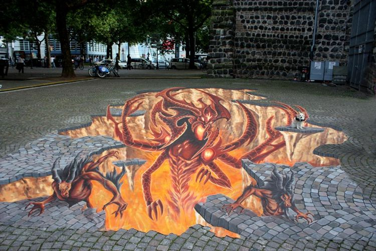 3D Street Painting DIABLO 3 Gamescom Cologne 2011/ Photo Credit:Manfred Stader