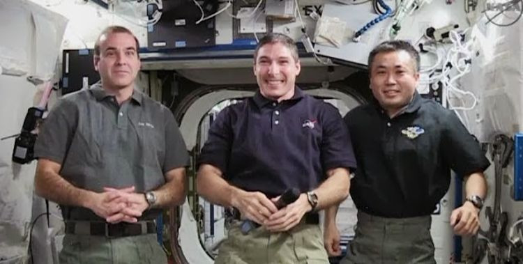 From left: Astronauts Rick Mastracchio, Mike Hopkins and Koichi Wakata / Photo Credit: Wikipedia