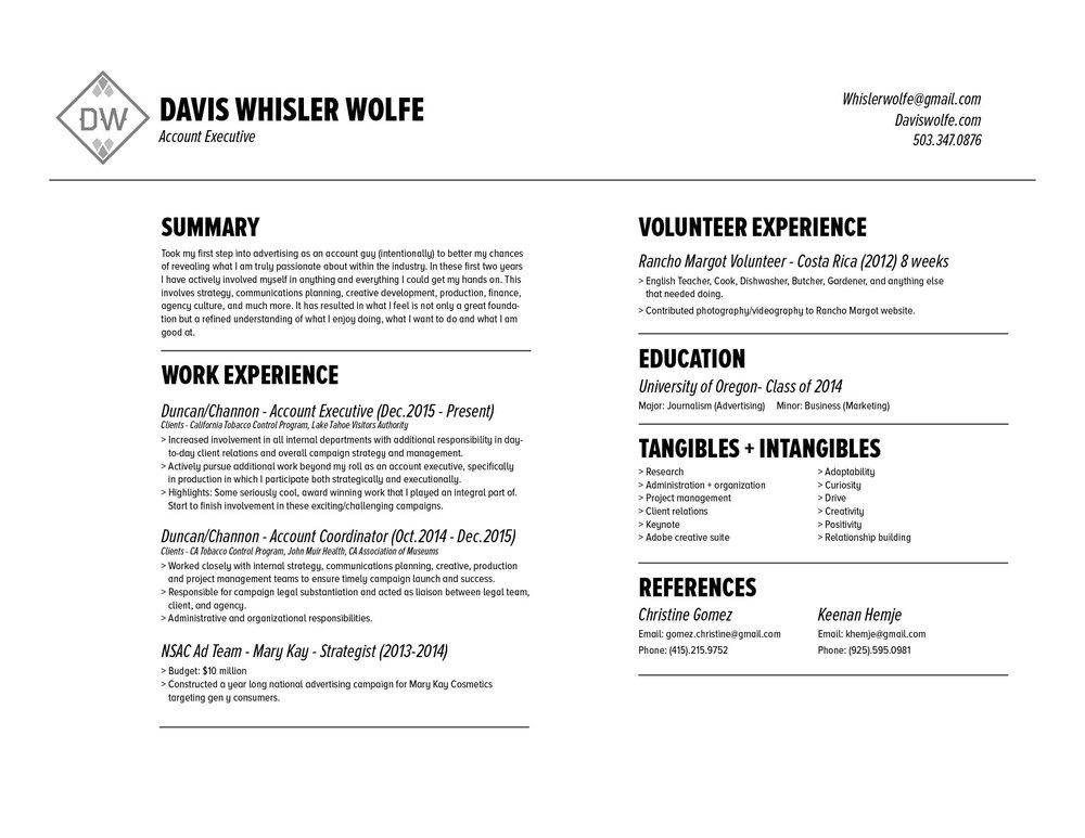 Résumé — Davis W. Wolfe - Strategist/Account Planner