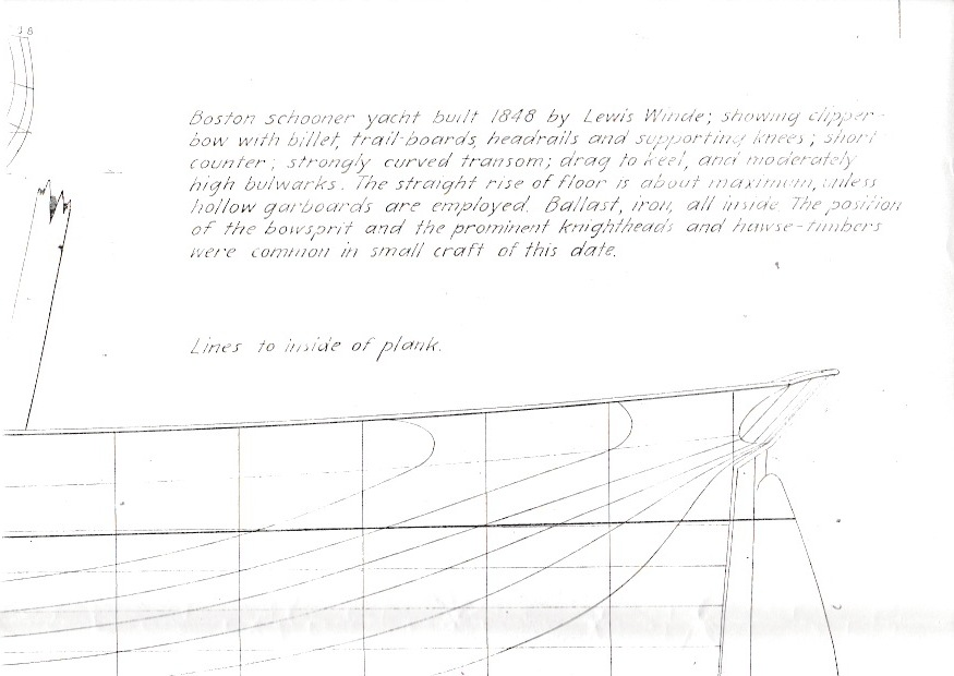 Part of the plans used to build Windeward Bound, prior to modifications made to meet safety requirements.