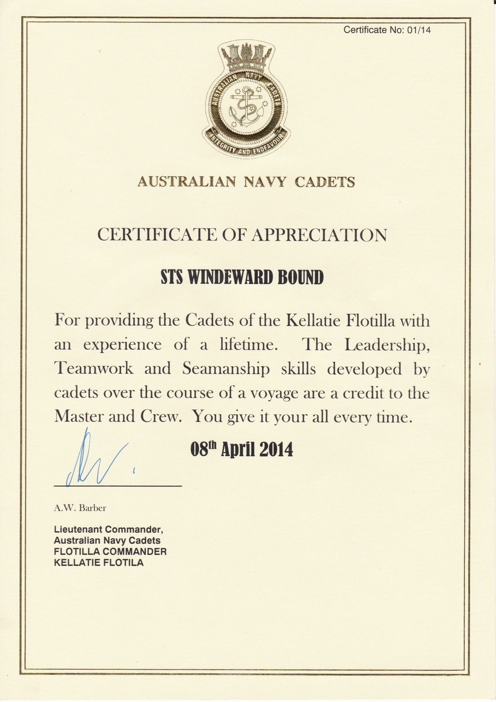 Australian Naval Cadets Certificate of Appreciation