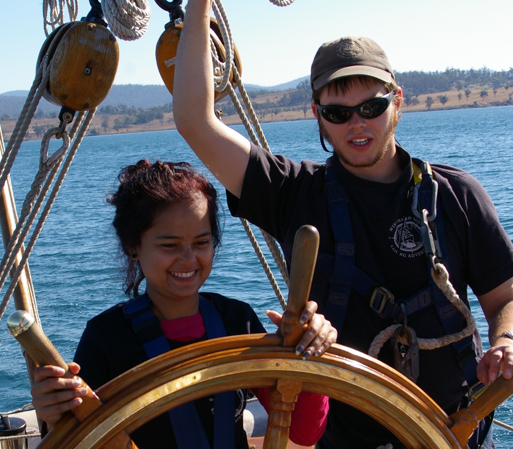 Crew member with YLC participant in 2012