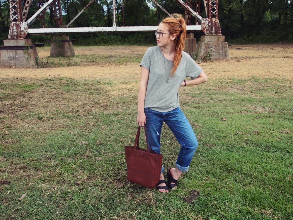 T.J. Maxx shirt ,  Gap jeans ,  DSW Birkenstocks ,  Joy Susan tote , Ralph Lauren  glasses ,  Pangaea necklace ,  Urban Outfitters watch