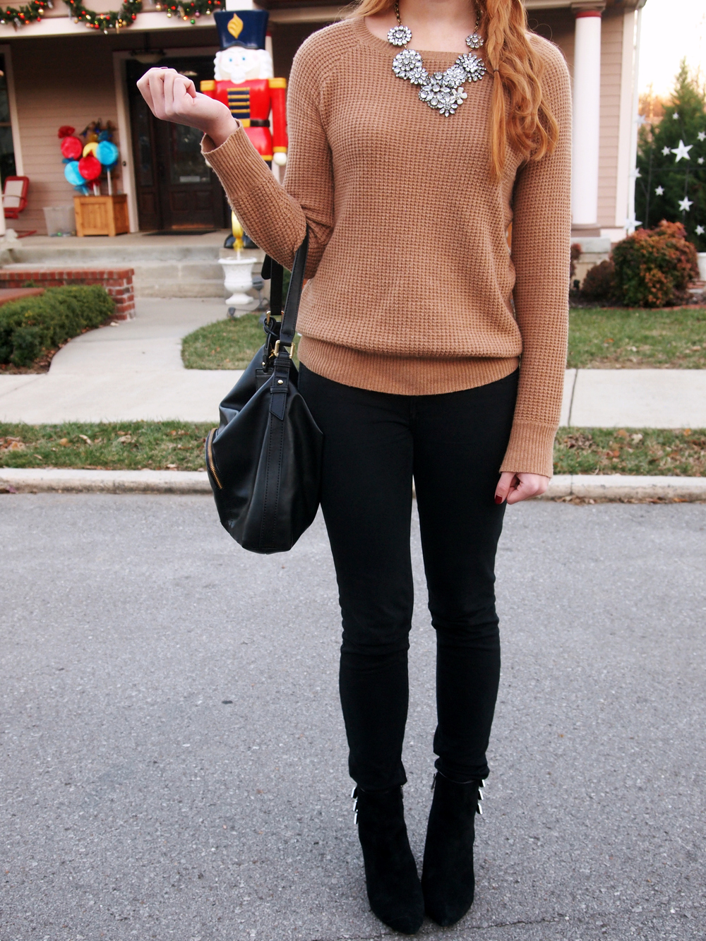 J.Crew sweater, American Eagle leggings, DV by Dolce Vita booties, Etsy bib necklace (similar), The Limited purse