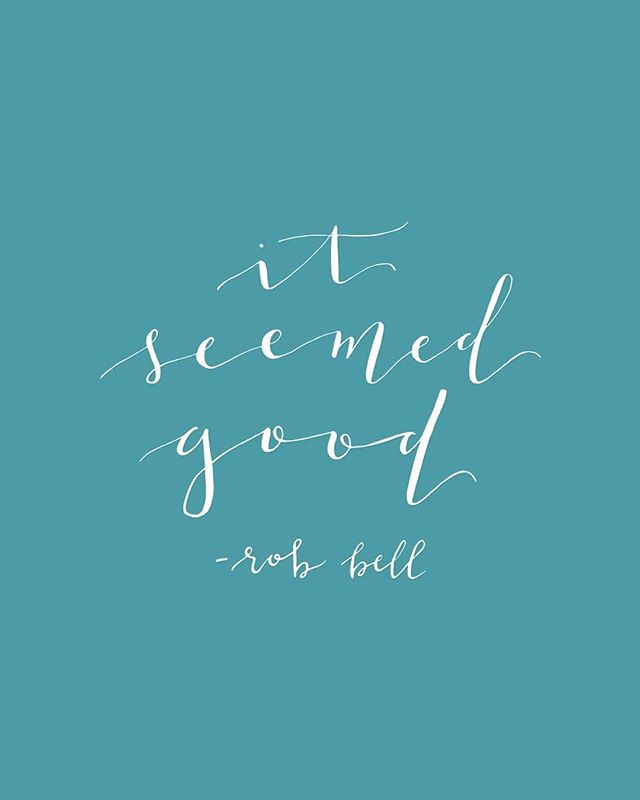 "Anyone else a big fan of podcasts? Taylor and I looove @realrobbell's #Robcast. One of the most life-changing episodes for me was Episode 194: It Seemed Good. 💭 Something clicked when Rob said, ""Part of the art of it is throwing yourself into whatever it is you're doing without clinging too tightly to it. Some people realize 'this might not work' so they back off and don't throw themselves into it. And others throw themselves into it, but they also white-knuckle it. They're grabbing at it so tightly like THIS HAS TO WORK OR I'M IN TROUBLE!"" 😬 I've definitely been on both ends of that spectrum. I'll have an idea I'd love to pursue, but I'm so afraid that it might not work out that I never even try. Then there are other instances where I'm pushing and pushing for something past the point of even finding joy in it. I figure ""I've already invested this far!"" so I simply cannot walk away. Rob challenged these extremes with three simple words: it seemed good. 🤔 The reason I love this phrase so much is because it implies when the idea/project was conceived, it seemed good. But just because it seemed good doesn't automatically mean it is. 🤷‍♀️ I always say this phrase with a shrug and smile. And I can't help but chuckle when Rob says it in the podcast because it's so simple and nonchalant. We don't usually see creativity as something we can be so casual about. We have to make ALL the things! We have to put in the work! It will be great! It MUST be great! 🌟 Yes, sometimes we get to participate in the creation of greatness. And sometimes our ideas seemed good but the more we pursue them, the more we realize: it was a lot cooler in our heads. Rob spoke of projects he's started, put hours upon hours into, all while trying to quiet the little voice in his head that's whispering, ""Honestly Rob, this just isn't that good. Even YOU'RE bored with this."" 😜 So what? You worked on something and it didn't pan out. Oh well. It seemed good! What's next? ✌🏼 So go forth and create—without fear or expectation! Because at the end of the day, whether it turned out wonderfully or didn't: it seemed good. (Calligraphy handlettered by @taylordturner)"