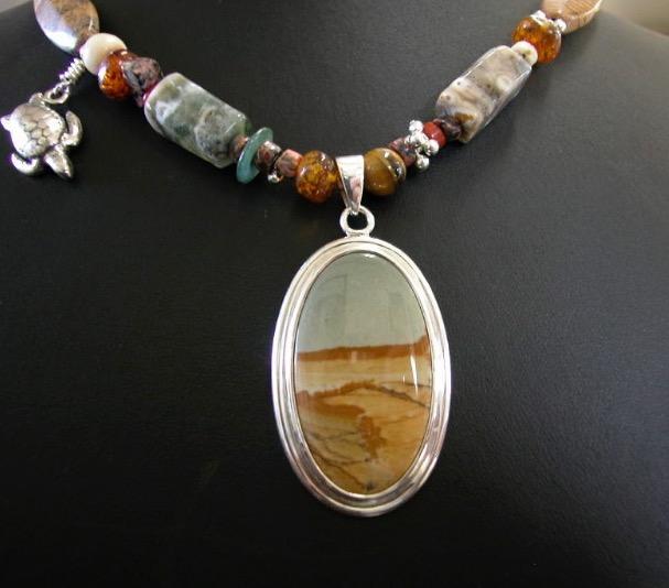 Owyhee Picture Jasper. Silver 925  - Sold