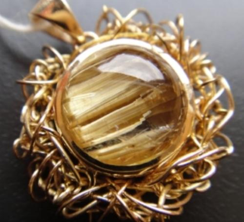 Rutile Quartz K18 Yellow Gold