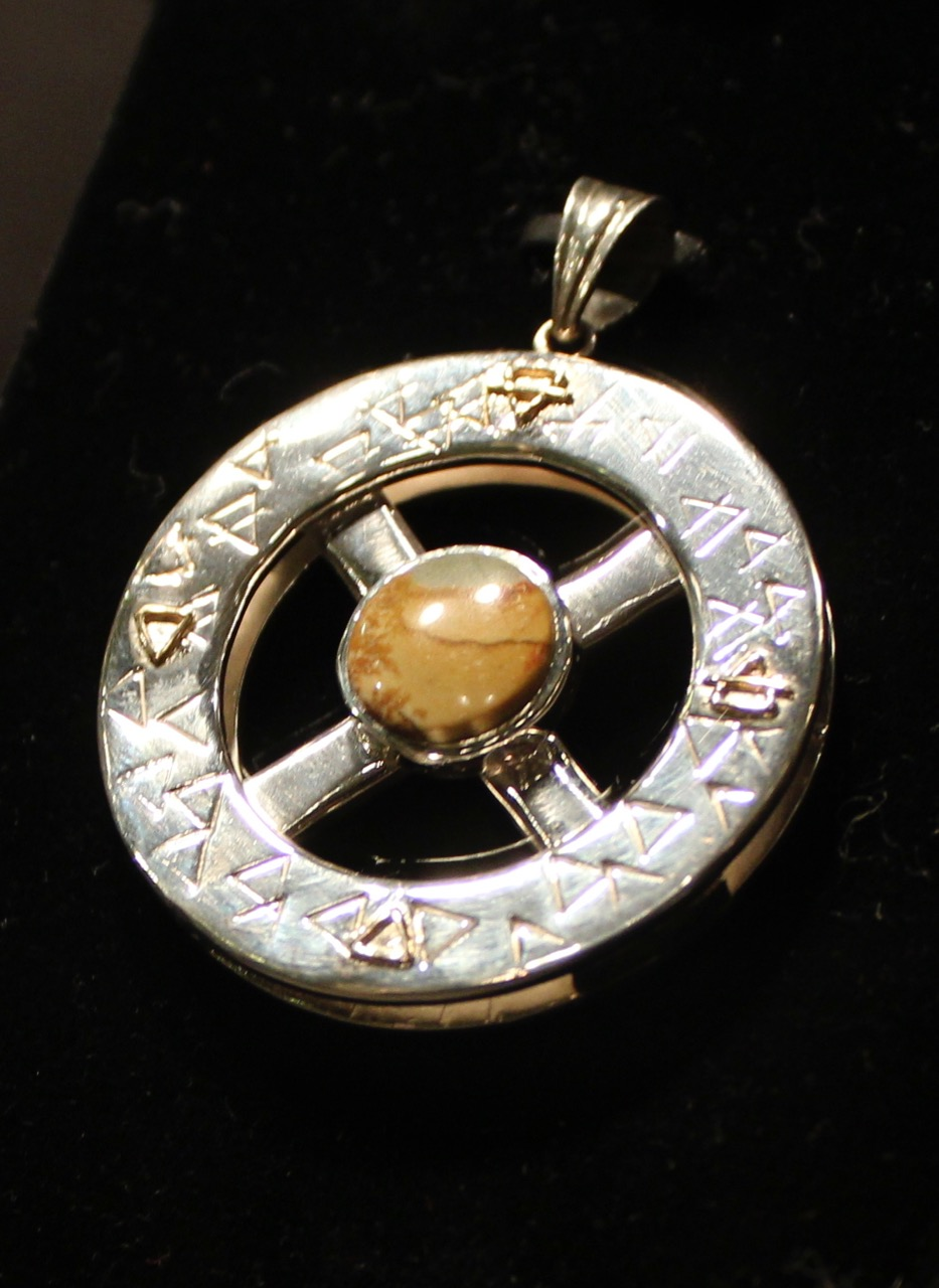 Owyhee Picture Jasper Medicine Wheel Pendant. Silver 925
