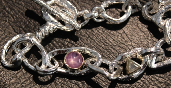 Star pink sapphire. Rough Diamond. K18 Yellow Gold. Silver 925  - Sold