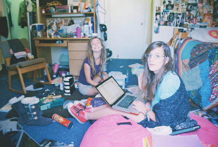 Freshmen studying