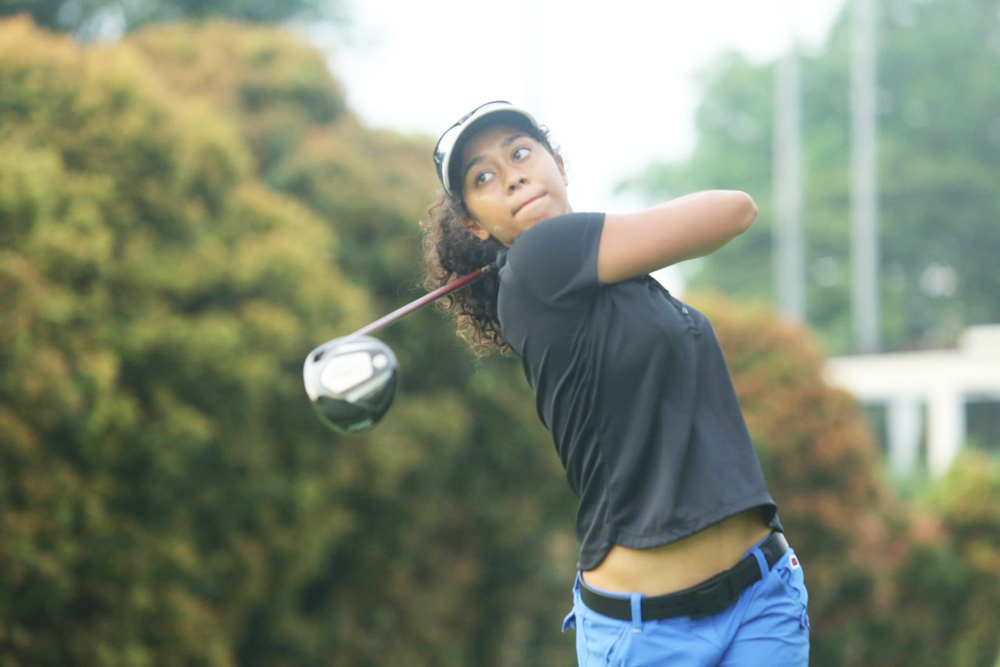 Maya Bhat (CMC '18) didn't compete in golf until a few years ago, but she's been playing for most of her life. Photo courtesy of Maya Bhat.