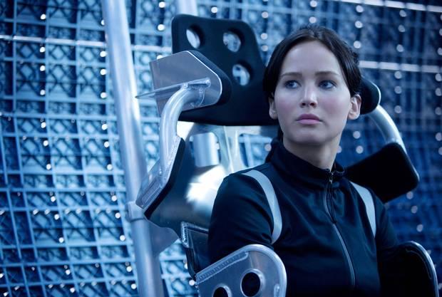 "Jennifer Lawrence as Katniss in ""The Hunger Games: Mockingjay"""