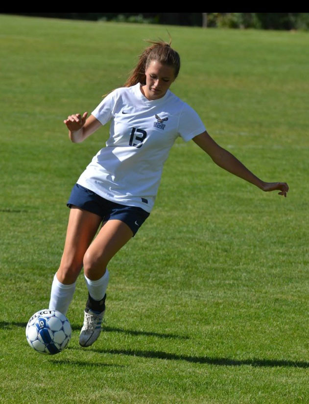 First-year Maddie Peterson plays defense for the CMS soccer team. Photo courtesy of Maddie Peterson '19