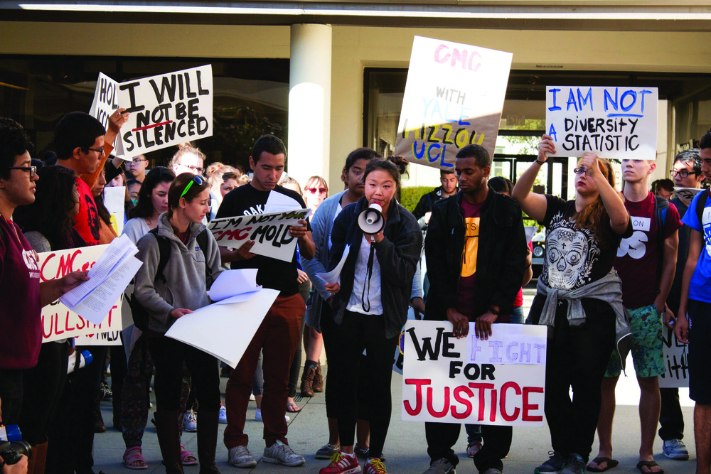 CMCers of Color leads demonstration protesting administration's lack of support. Photo courtesy of Emily Wang CMC '19 and The CMC Forum