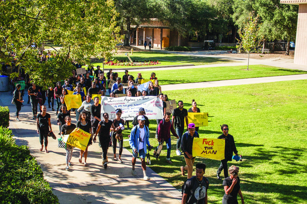 5C students protest racial injustices in the #MillionStudentMarch. Photo courtesy of Emily Wang CMC '19 and The CMC Forum