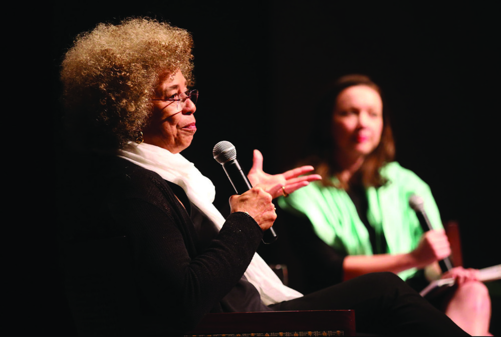 Angela Davis and Annie Gilbertson at Garrison Theater. Photo courtsey of Daily Bulletin.