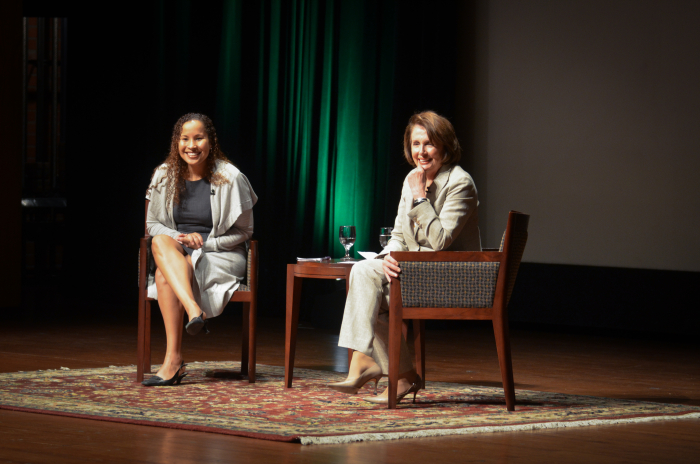As part of the new Scripps Presents speaker series, former Speaker of the House Nancy Pelosi visited Scripps College on Feb. 18 and discussed the importance of women in politics. Photo courtesy of Scripps College