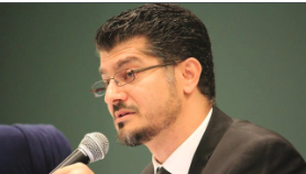 Hussam Ayloush, executive director of CAIR, spoke on Tuesday at  Scripps College. Photo courtesy of PressTV.