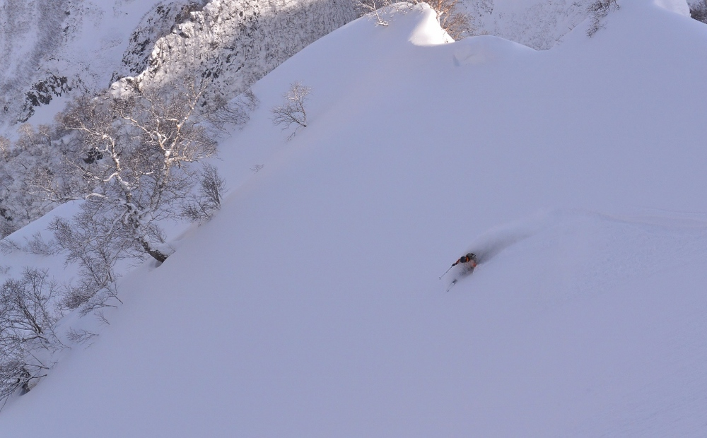 50 degree over-the-shoulder pow. A very good day. © The Powder Project Pty Ltd